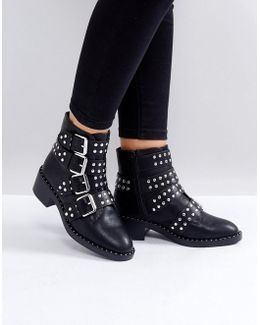 Black Studded Buckle Flat Ankle Boots