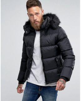 Puffer Jacket Detachable Hood Faux Fur Trim Slim Fit In Black/black