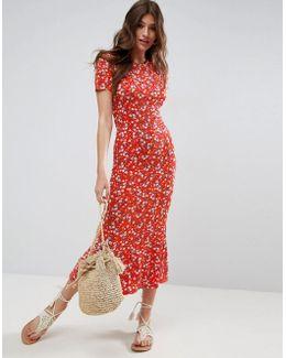 City Maxi Tea Floral-print Dress