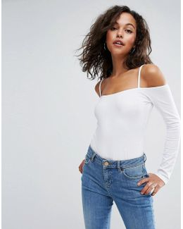 Long Sleeve Off Shoulder Body With Skinny Strap