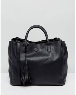 Tassel Detail Faux Leather Tote Bag