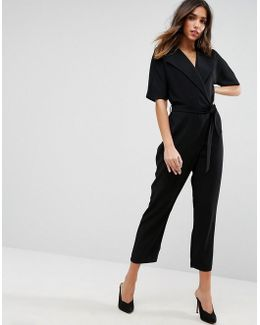 Wrap Jumpsuit With Self Belt