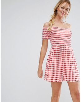 Off Shoulder Sundress With Shirring In Gingham