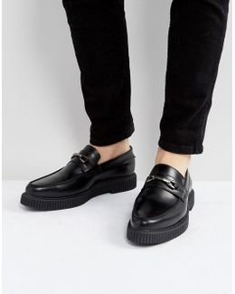 Loafers In Black Leather With Black Creeper Sole
