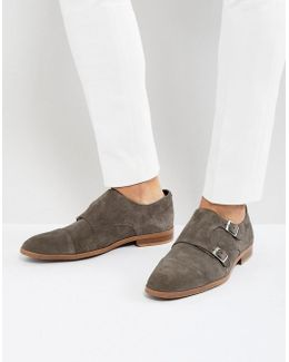 Monk Shoes In Grey Suede With Natural Sole