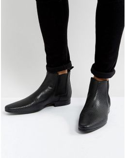 Chelsea Boots In Black Leather With All Over Emboss