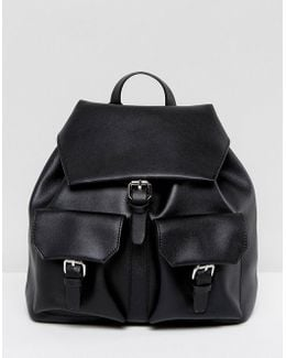 Black Backpack With Pocket Detail