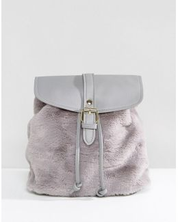 Faux Fur Backpack In Grey