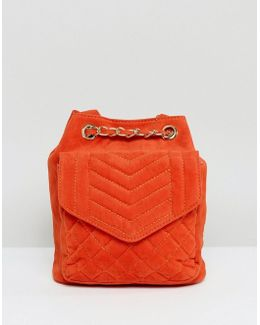 Quilted Velvet Backpack In Burnt Orange