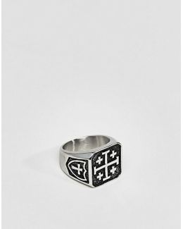 Cross Symbol Signet Ring