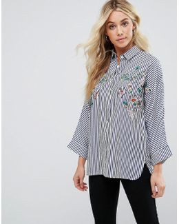 Stripe Shirt With Embroidery