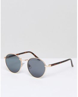 Round Sunglasses In Gold With Tort Arms