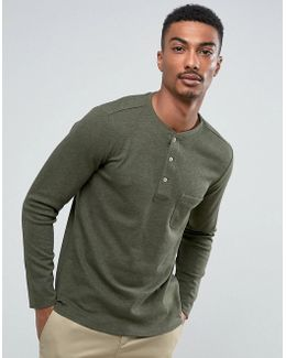 Man Long Sleeve Top With Buttons In Green