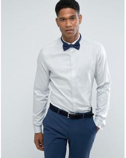 Wedding Skinny Sateen Shirt In Blue With Wing Collar And Double Cuff