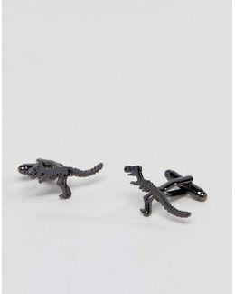 Cufflinks In Gunmetal With Dinosaur Design