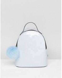 Mini Patent Pom Backpack