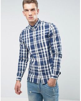 Slim Fit Large Check Shirt Navy