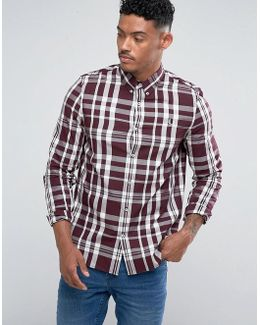 Slim Fit Large Check Shirt Red