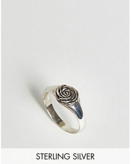 Sterling Silver Ring With Rose Design
