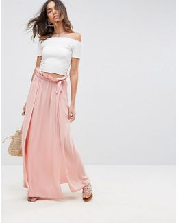 Maxi Skirt With Belt And Thigh Split