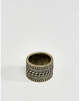 Ring With Chain Design In Burnished Gold