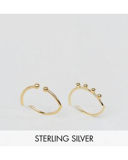 Gold Plated Sterling Silver Pack Of 2 Ball Tipped Fine Rings