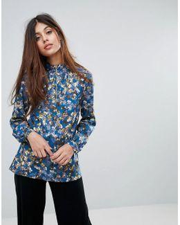 Closet Floral Zip Front Blouse