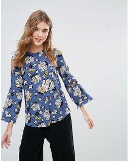 Closet Open Shoulder Floral Bell Sleeve Blouse