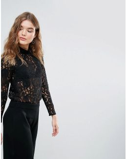 Closet High Collar Lace Blouse