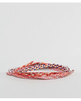 Plaited Woven Bracelets In Red