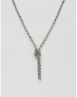 Chain Interest Necklace In Burnished Silver With Knot