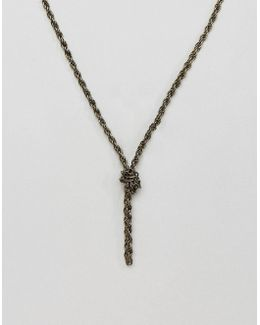 Chain Interest Necklace In Burnished Gold With Knot