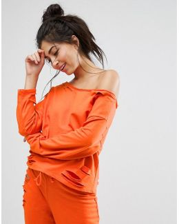 Lounge Ripped Off Shoulder Sweat