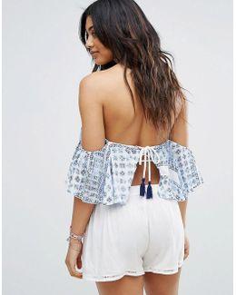 Lace-up Back Off-shoulder Top