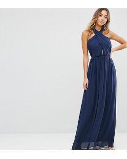Chiffon Twist Front Ruched Maxi Dress