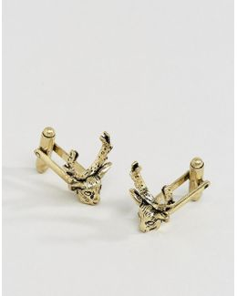 Cufflinks In Burnished Gold With Stag Design