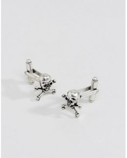 Cufflinks In Burnished Silver With Skull Design