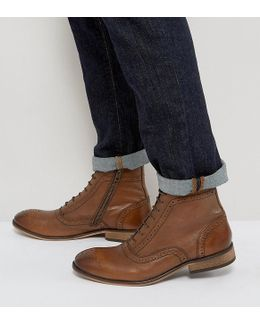 Wide Fit Lace Up Brogue Boots In Tan Leather With Zips