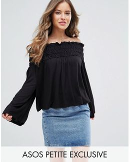 Off Shoulder Top With Shirring Detail