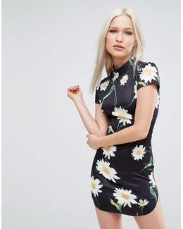 Daisy Print Cap Sleeve Dress