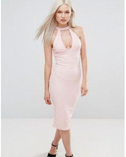 Choker Neck Midi Bodycon Dress