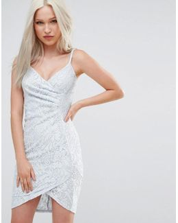 Lace Wrap Front Dress