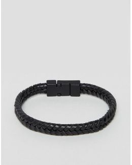 Plaited Faux Leather Bracelet In Black