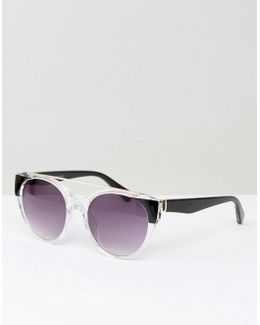 Crystal Frame Round Sunglasses