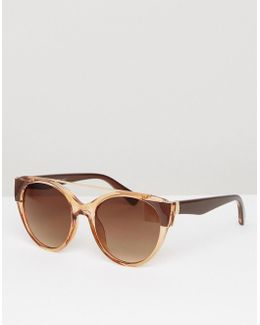 Amber Frame Round Sunglasses With Brow Bar