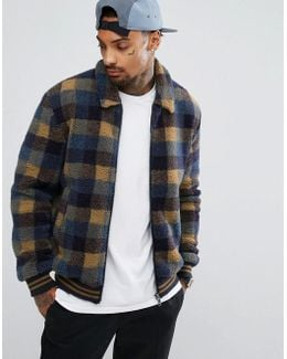 Borg Bomber Jacket In Blue Check With Contrast Rib