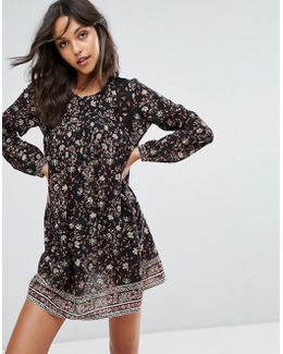 Floral Print Mini Dress With Cut Out Detail