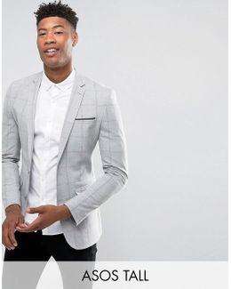 Tall Super Skinny Blazer With Pink Windowpane Check