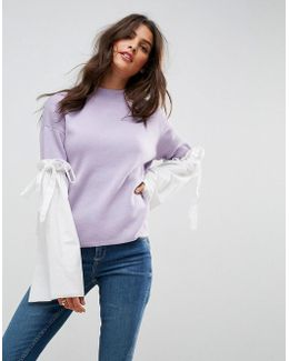 Jumper With Fabric Flared Sleeves