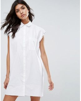 Sleeveless White Shirt Dress